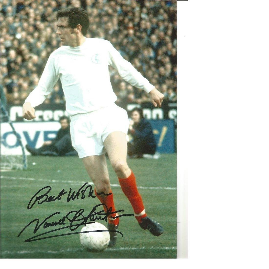 Norman Hunter Leeds United Signed 12 x 8 inch football