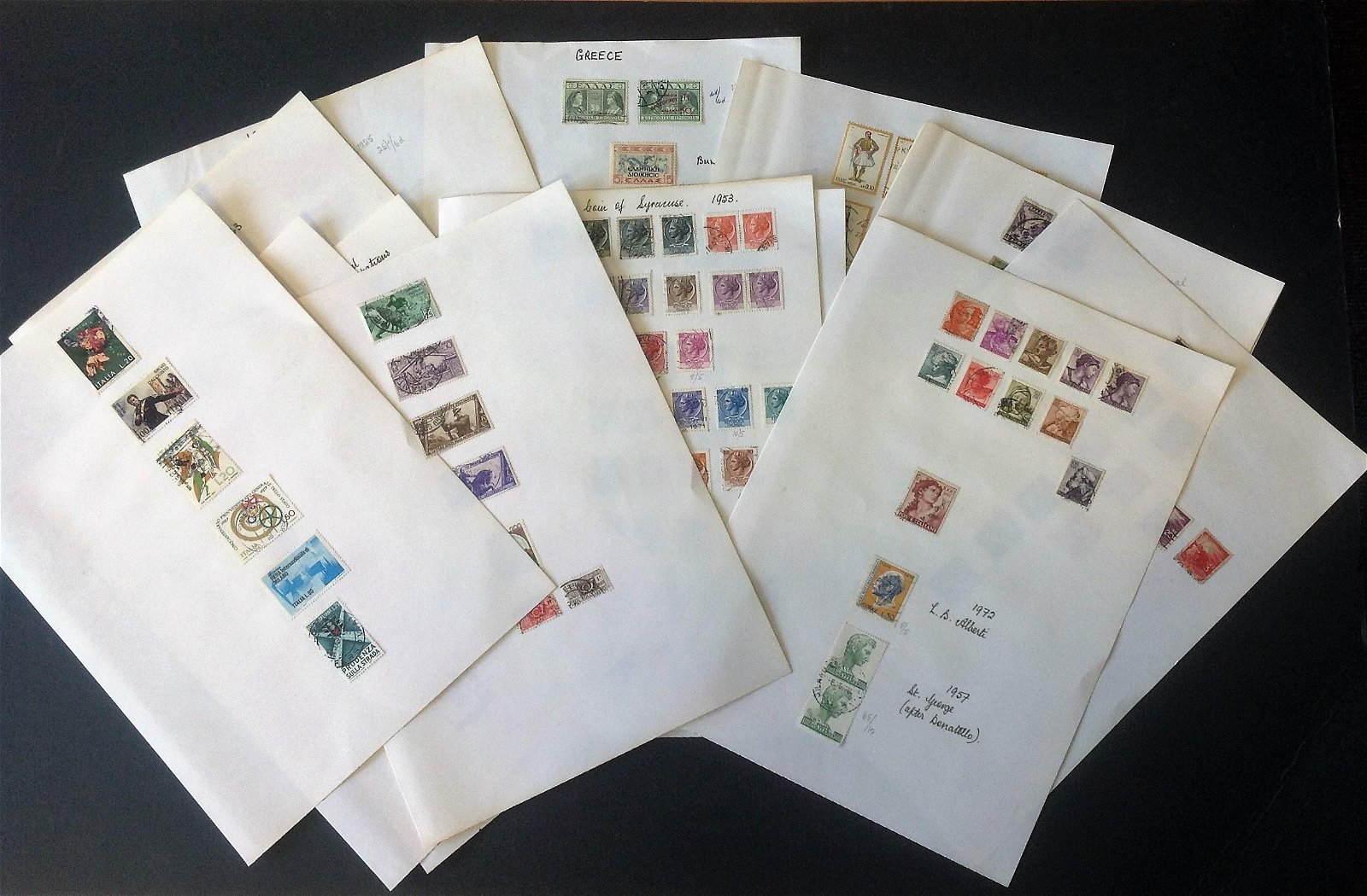 European stamp collection on 15 loose album pages.