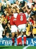 Dennis Bergkamp and Ian Wright. Arsenal Signed 16 x 12