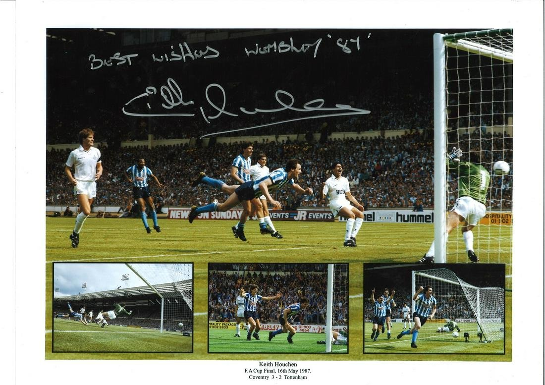 Keith Houchen FA Cup Final Coventry City Signed 16 x 12