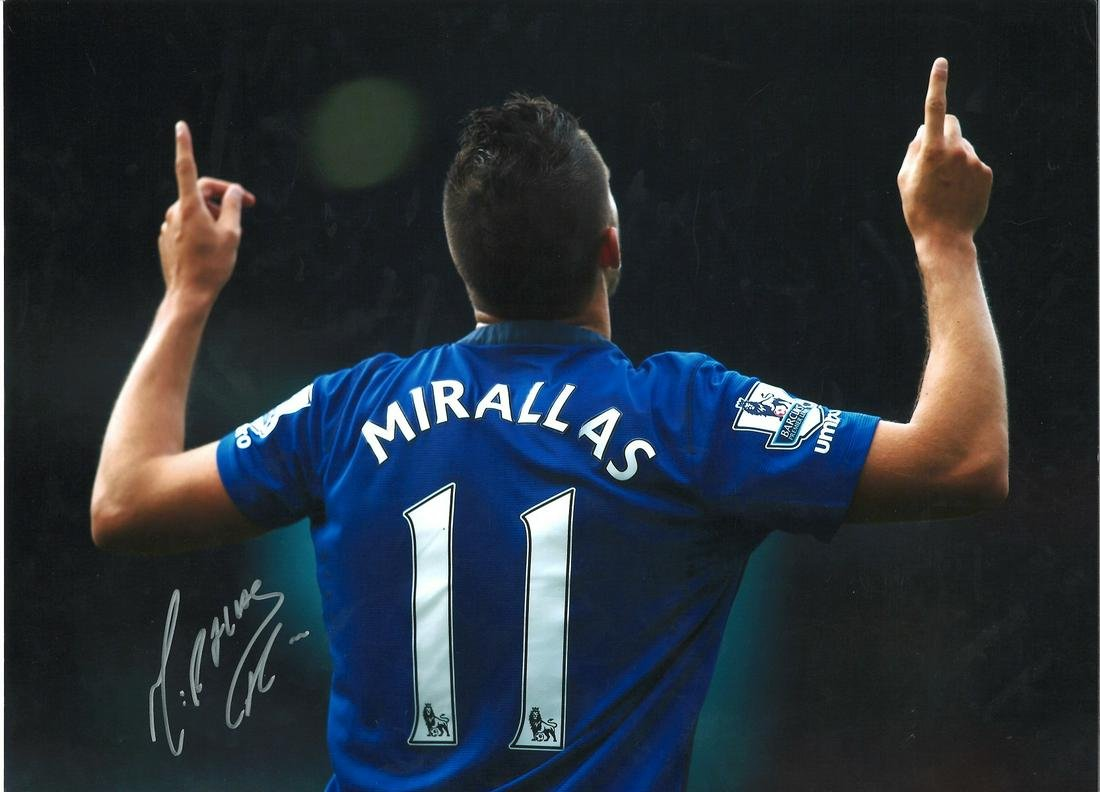 Kevin Mirallas Everton Signed 16 x 12 inch football