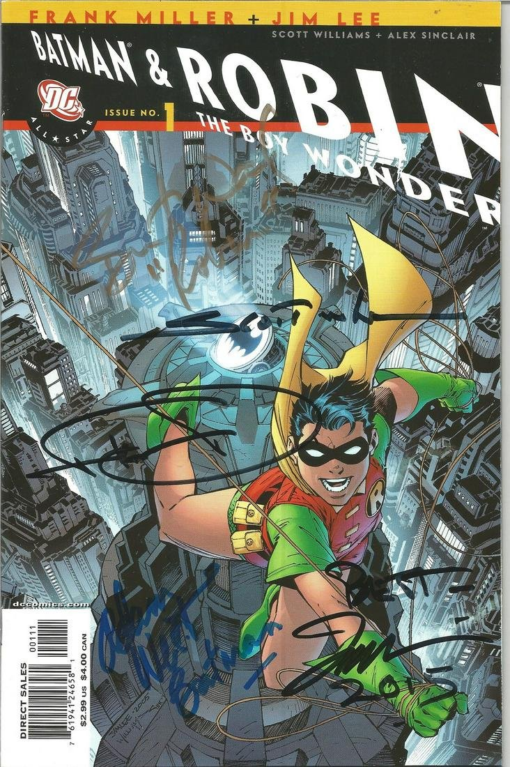 Batman and Robin multiple signed DC comic, Signed to