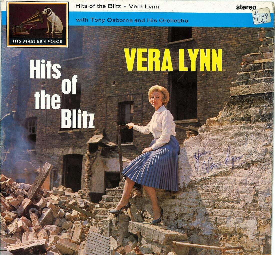 Vera Lynn signed Hits of the Blitz 33rpm record sleeve.