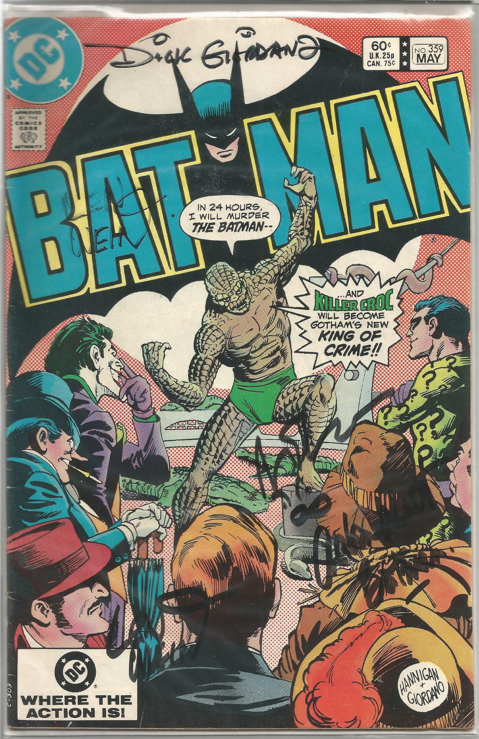 Adam West, Dick Giordano and Len Wein signed Batman