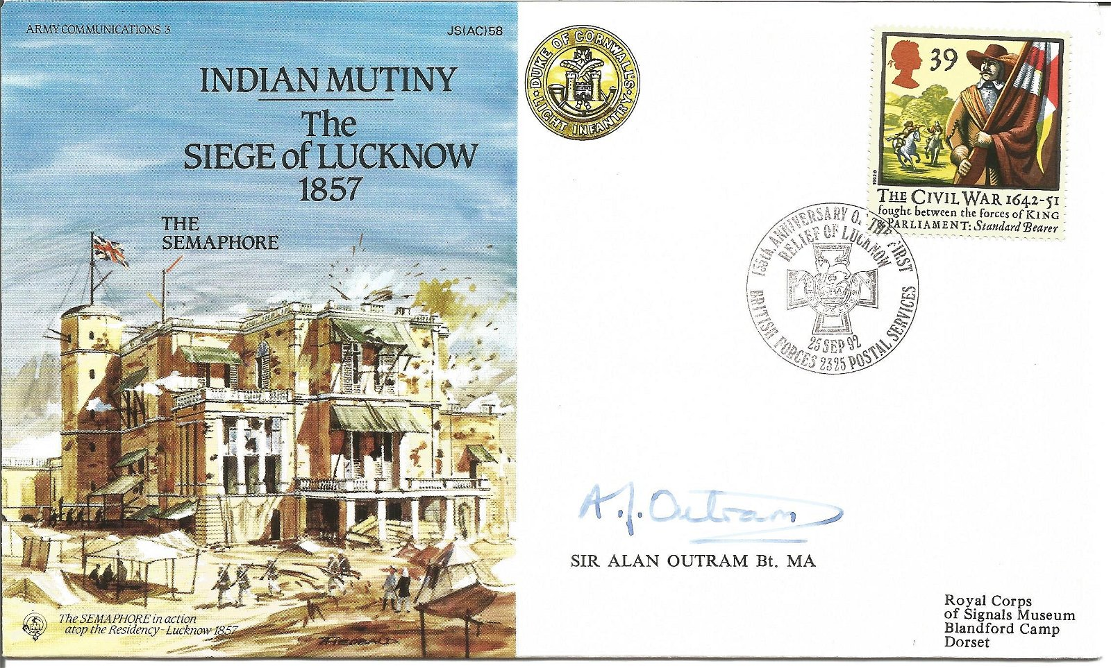 Sir Alan Outram signed Indian Mutiny The Siege of