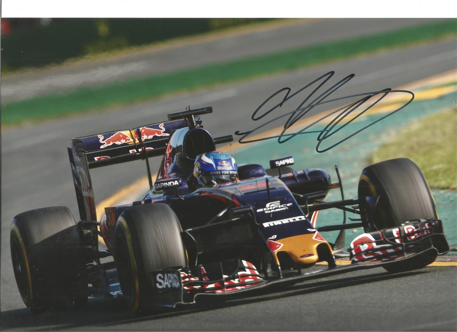 Max Verstappen signed 12x8 colour in action photo. Good