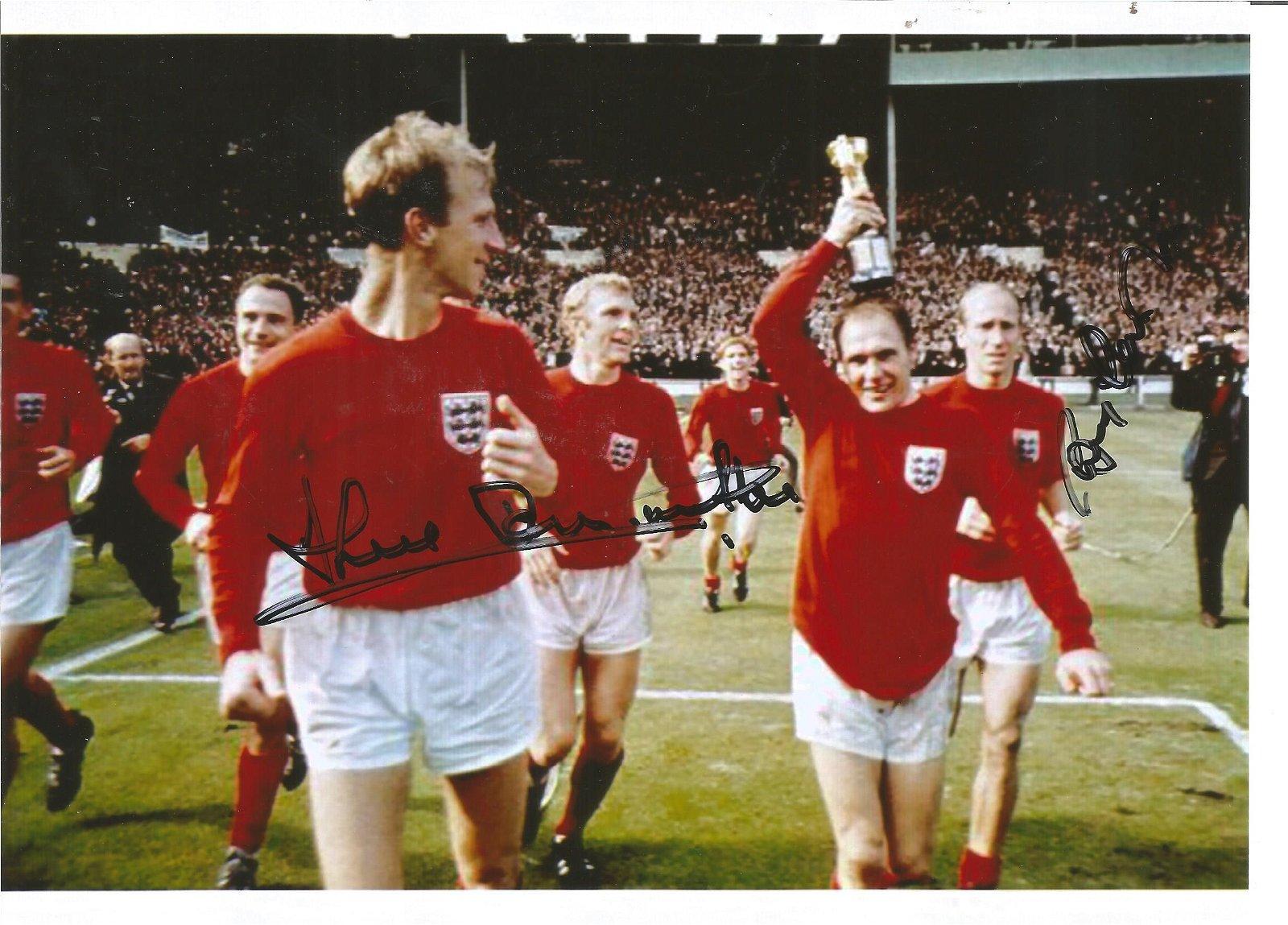 Jack and Bobby Charlton signed 8x6 colour 1966 photo.