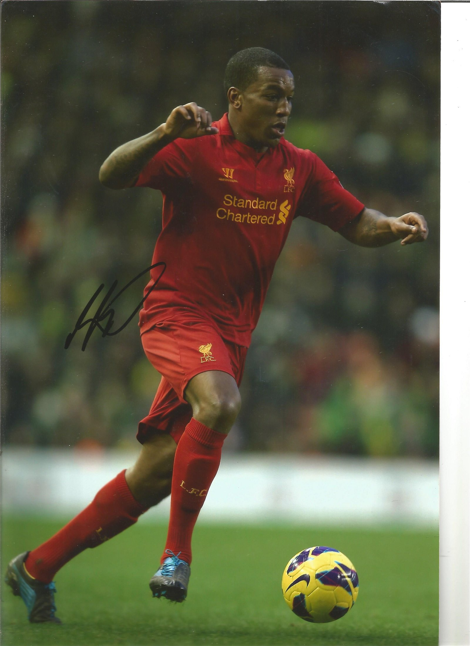 Raheem Sterling & Andre Wisdom 2 Signed Liverpool 8x12