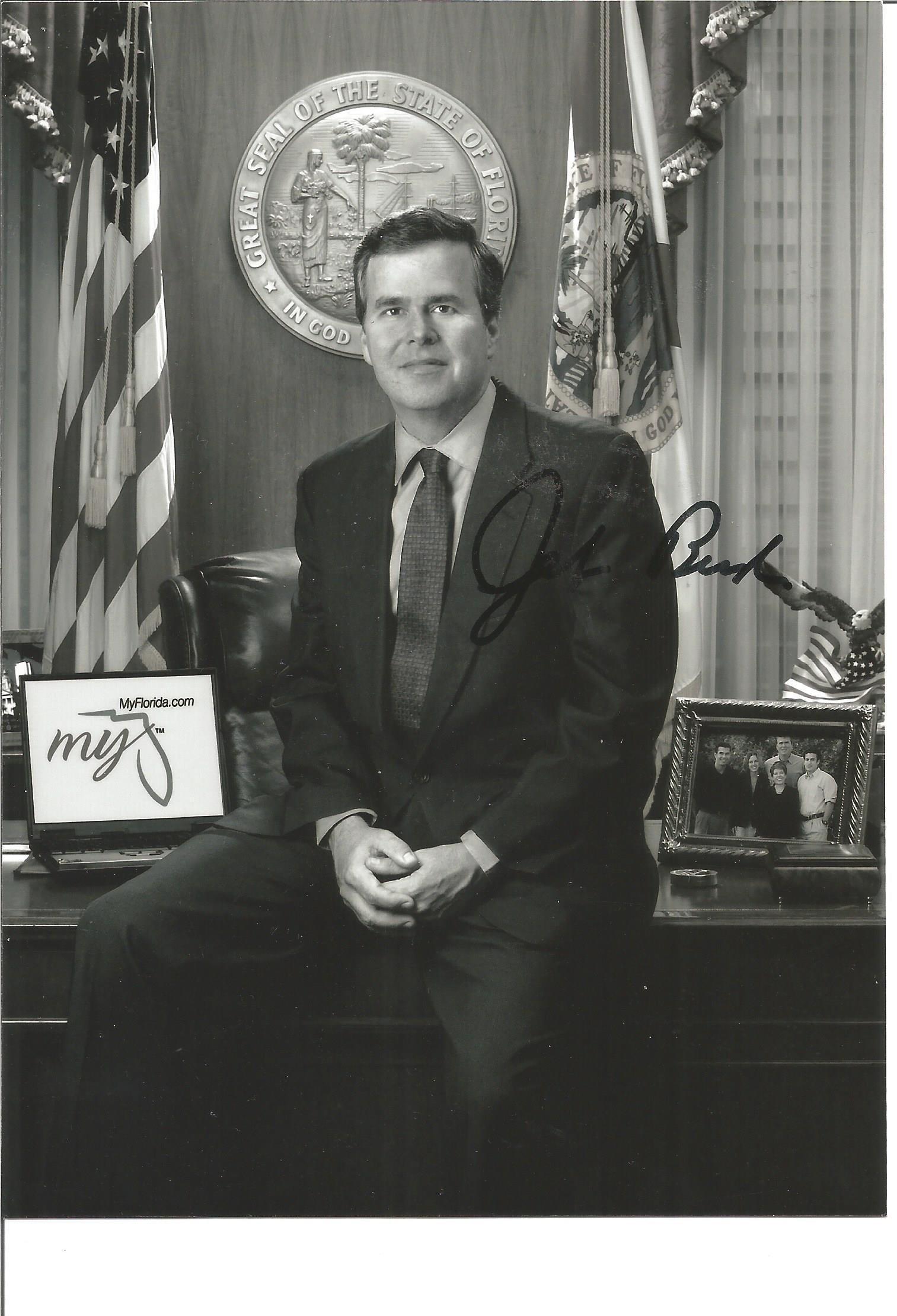 Jeb Bush signed 7x5 black and white photo. Good