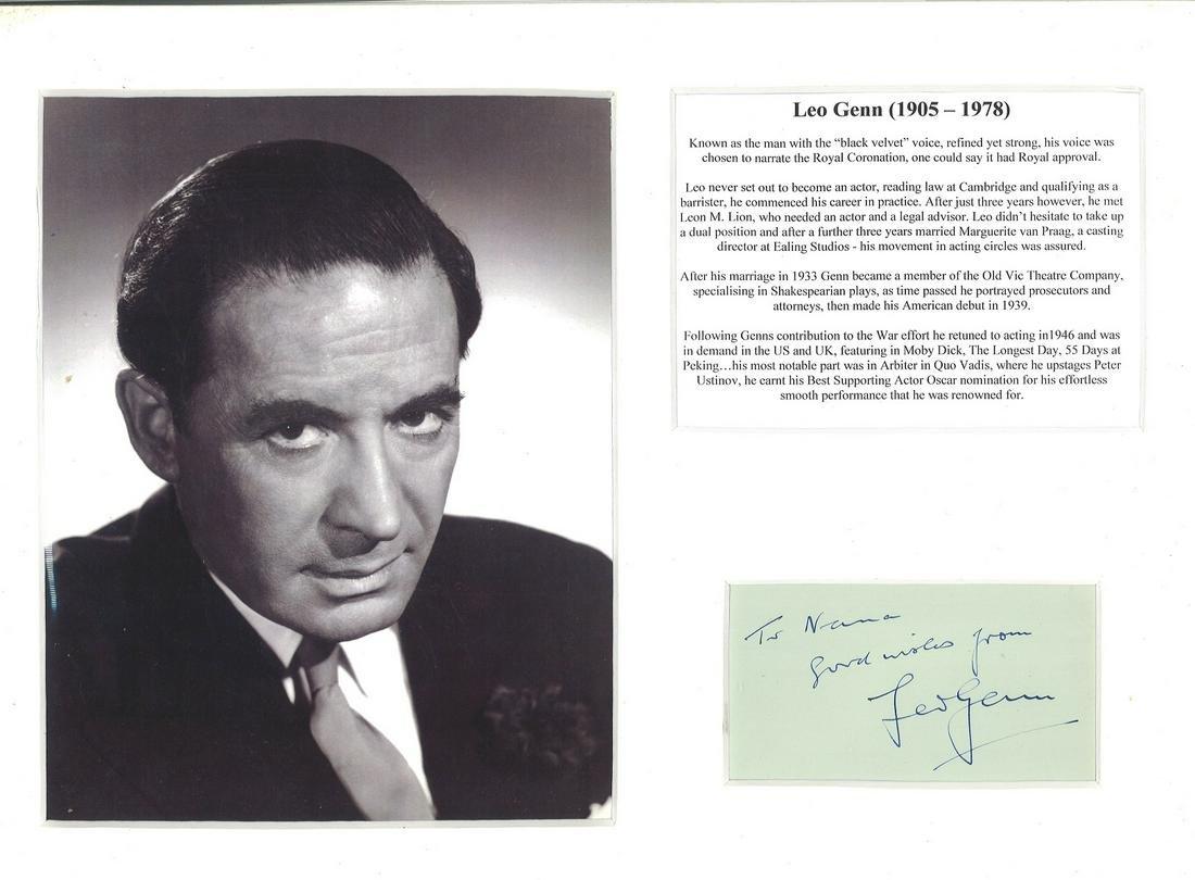 Leo Genn signature piece mounted alongside black and
