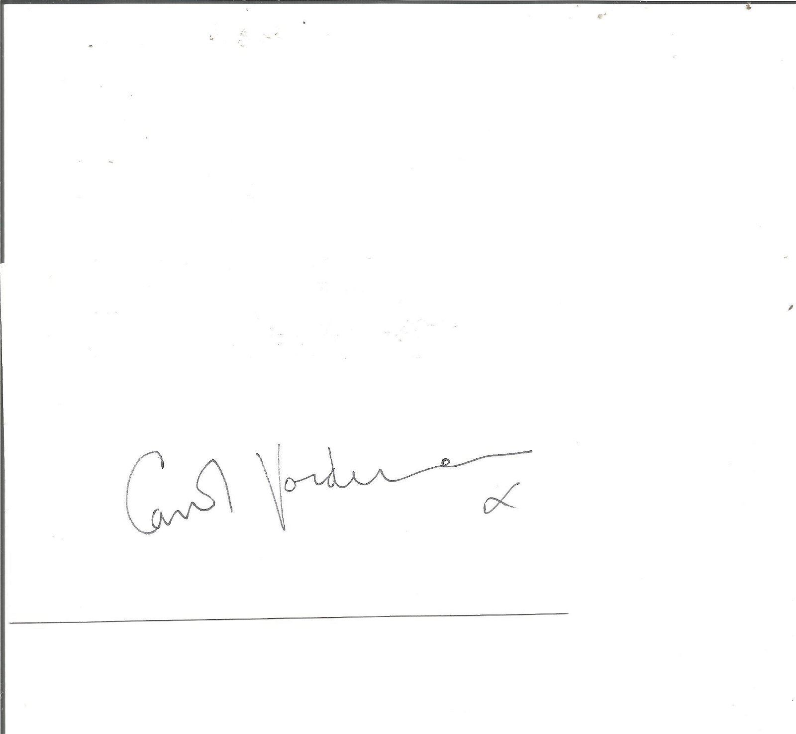 Carol Vorderman signed white card. Good Condition. All