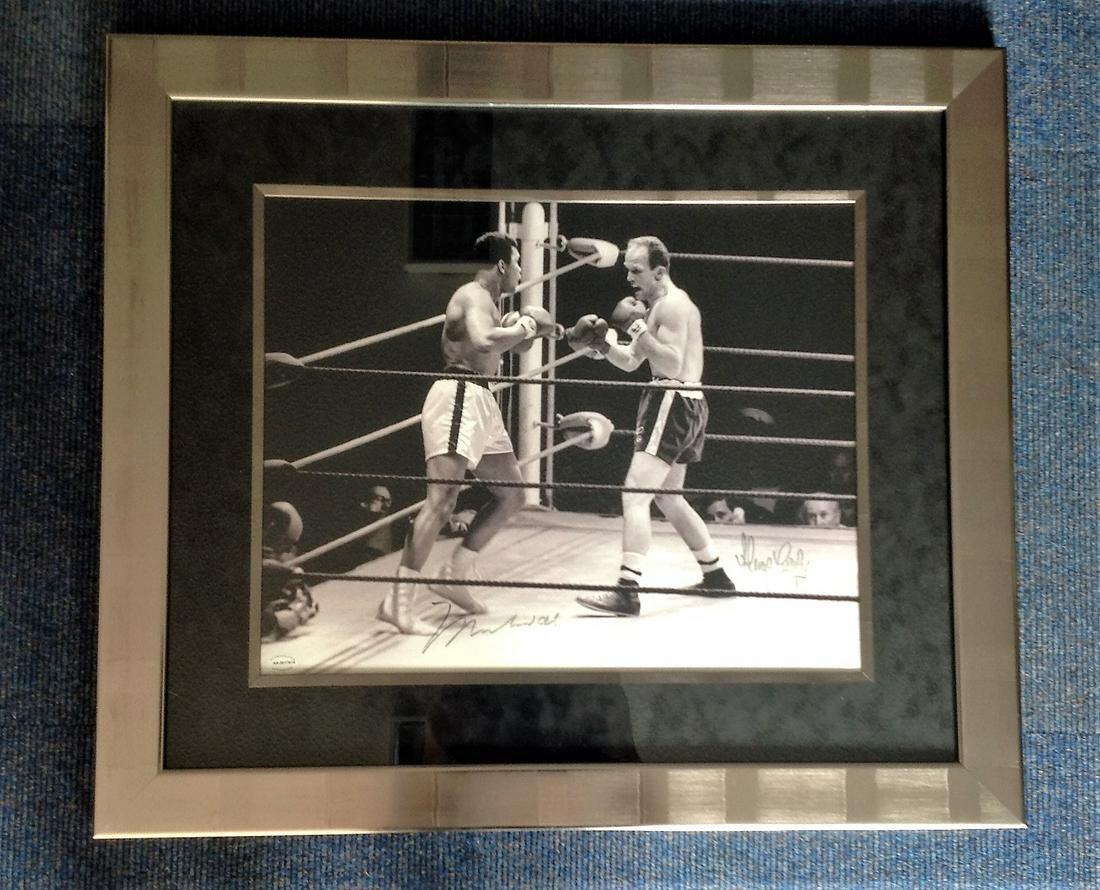 Boxing Muhammad Ali and Sir Henry Cooper 30x26 framed
