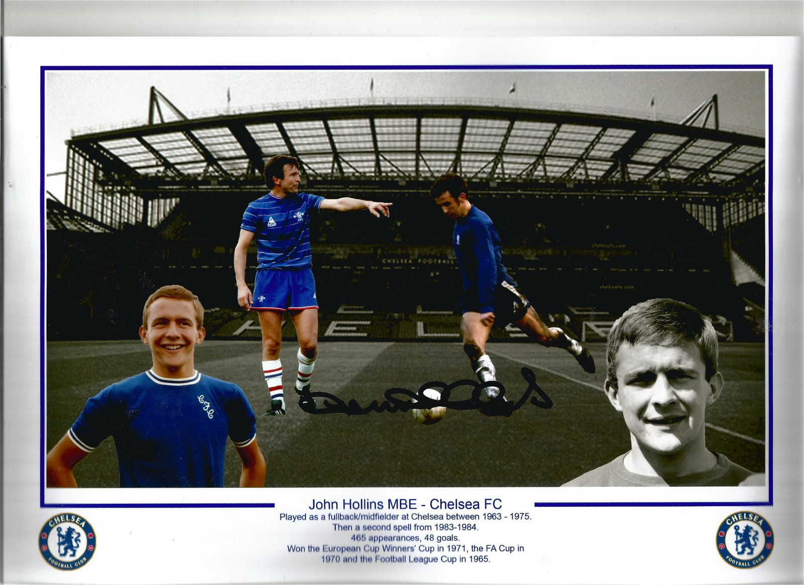 Football John Hollins signed 12x8 Chelsea F. C montage