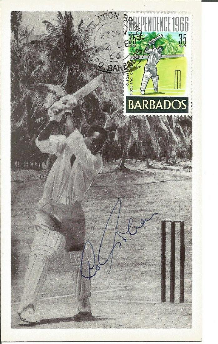 Cricket Sir Garfield Sobers signed FDI post card PM GPO