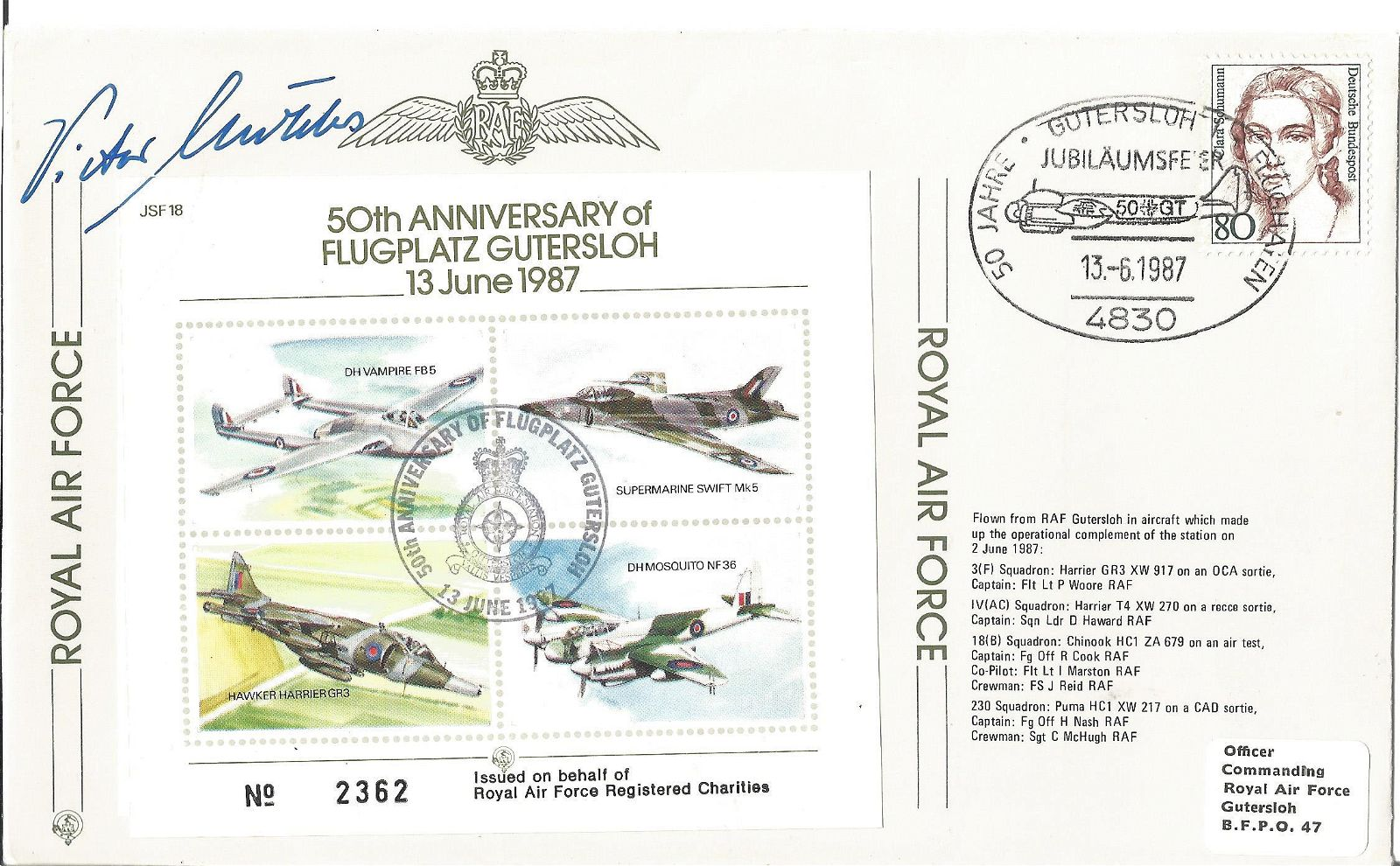 Viktor Molders signed Royal Air Force flown FDC 50TH
