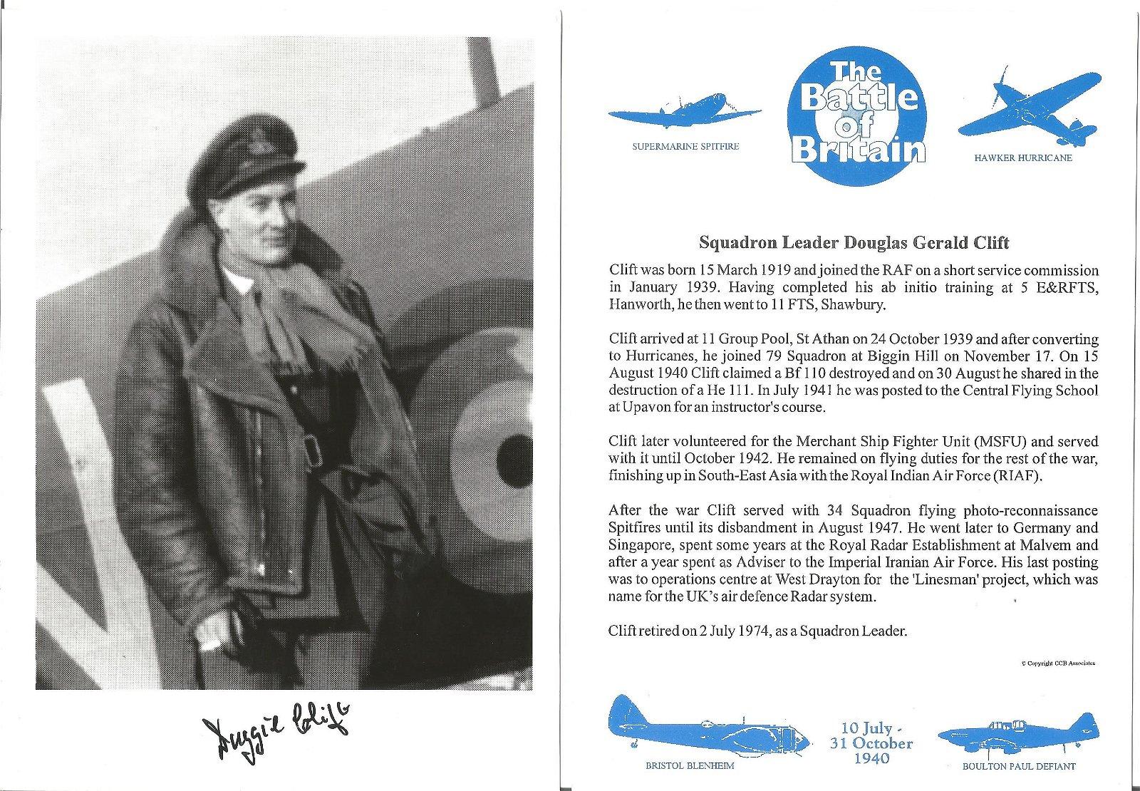 Squadron Leader Douglas Gerald Clift signed 7x5 black