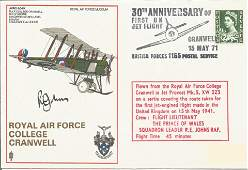 Sqn Ldr R.E. Johns signed flown R A F College Cranwell