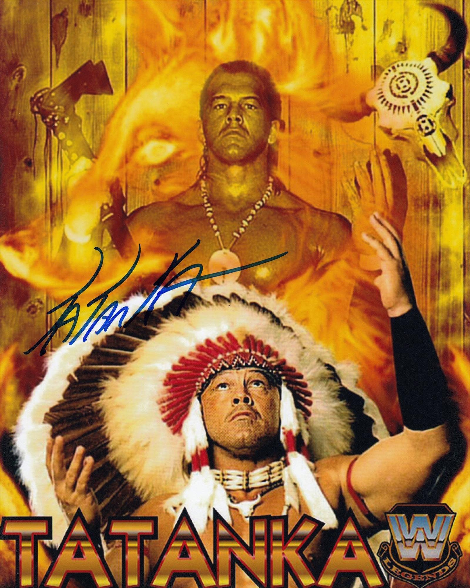 Blowout Sale! WWE/WWF Tatanka hand signed 10x8 photo.