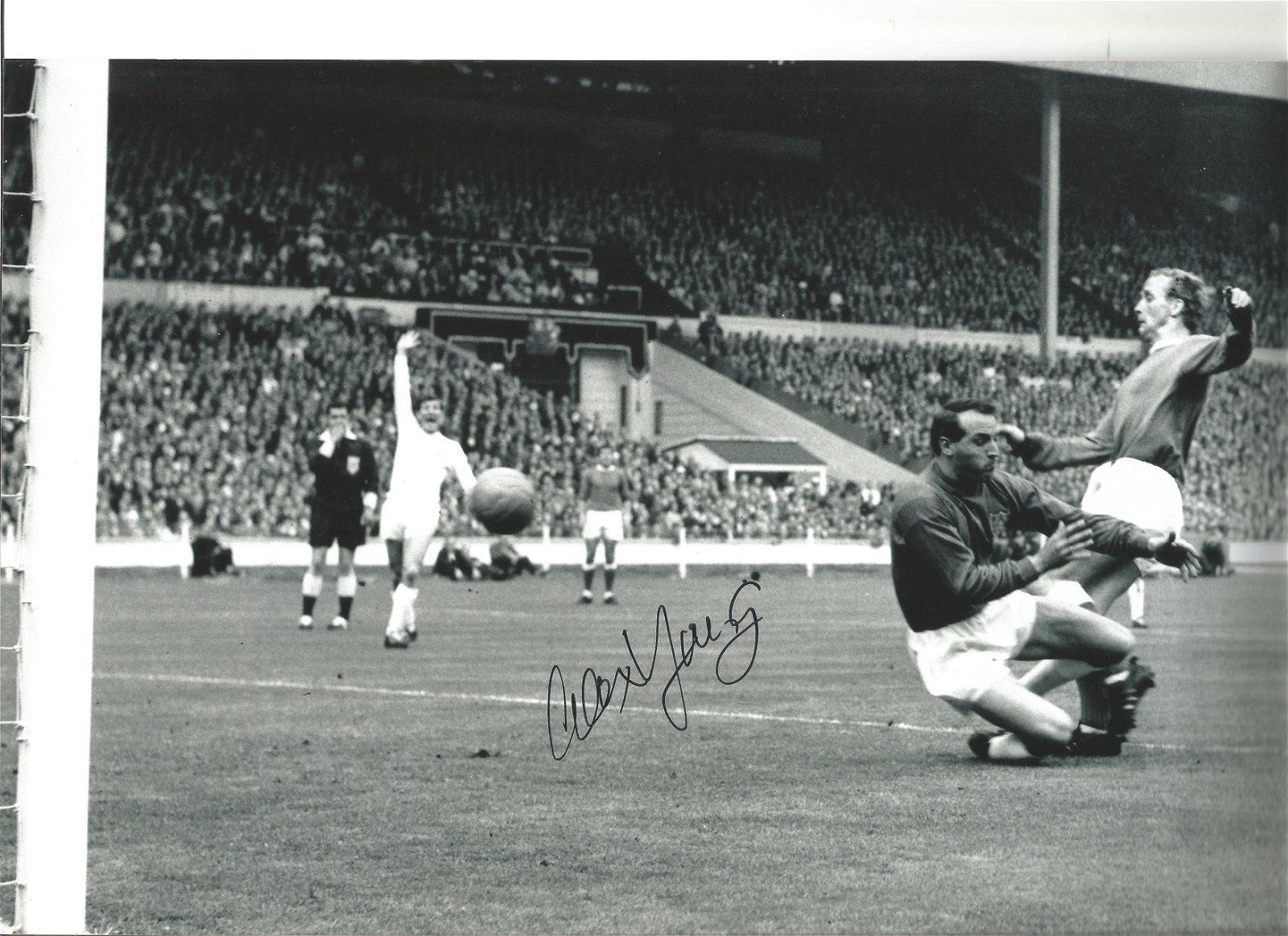 Alex Young Everton Signed 12 x 8 inch football photo. .