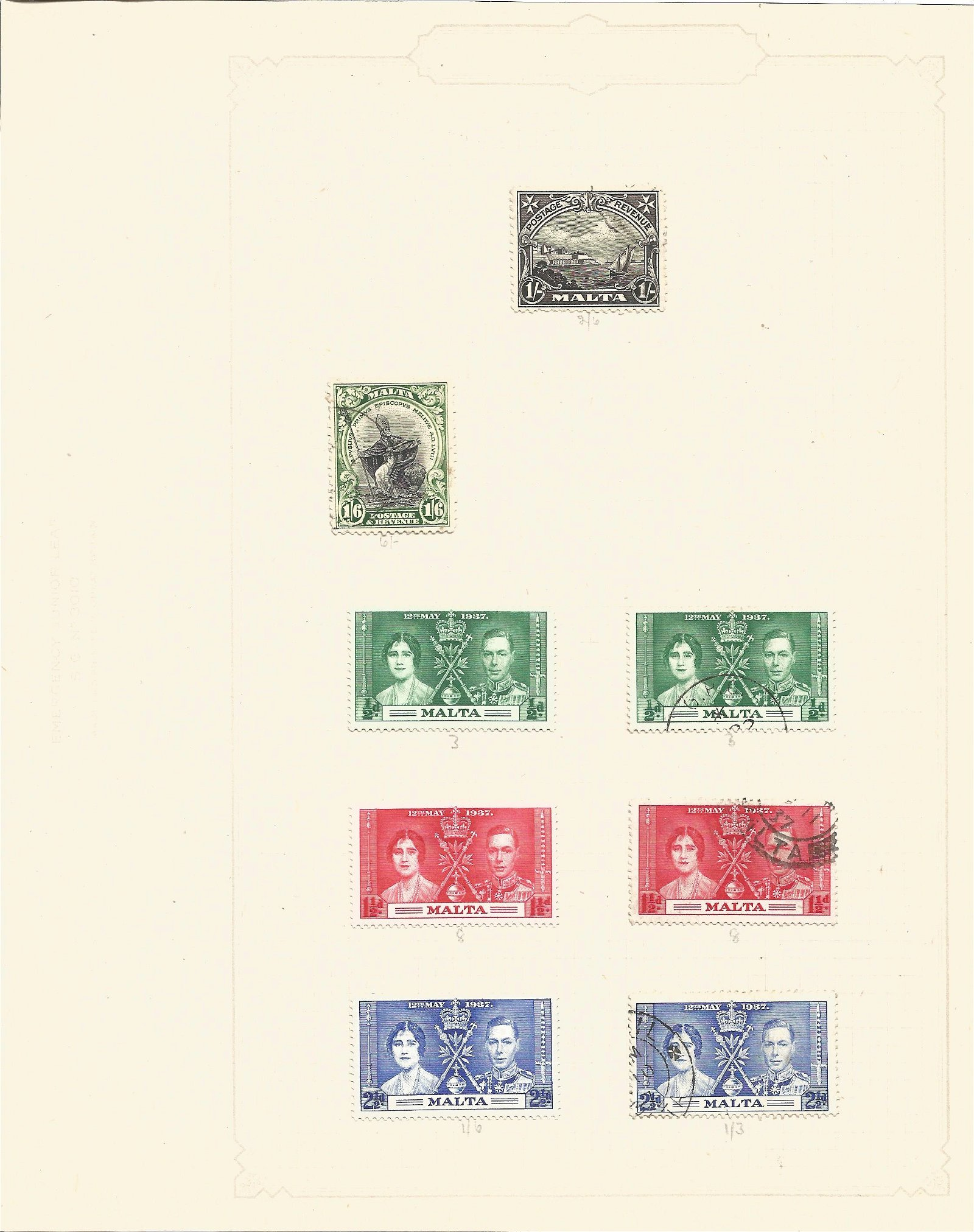 Malta stamp collection, Mint and used, 1937 coronation