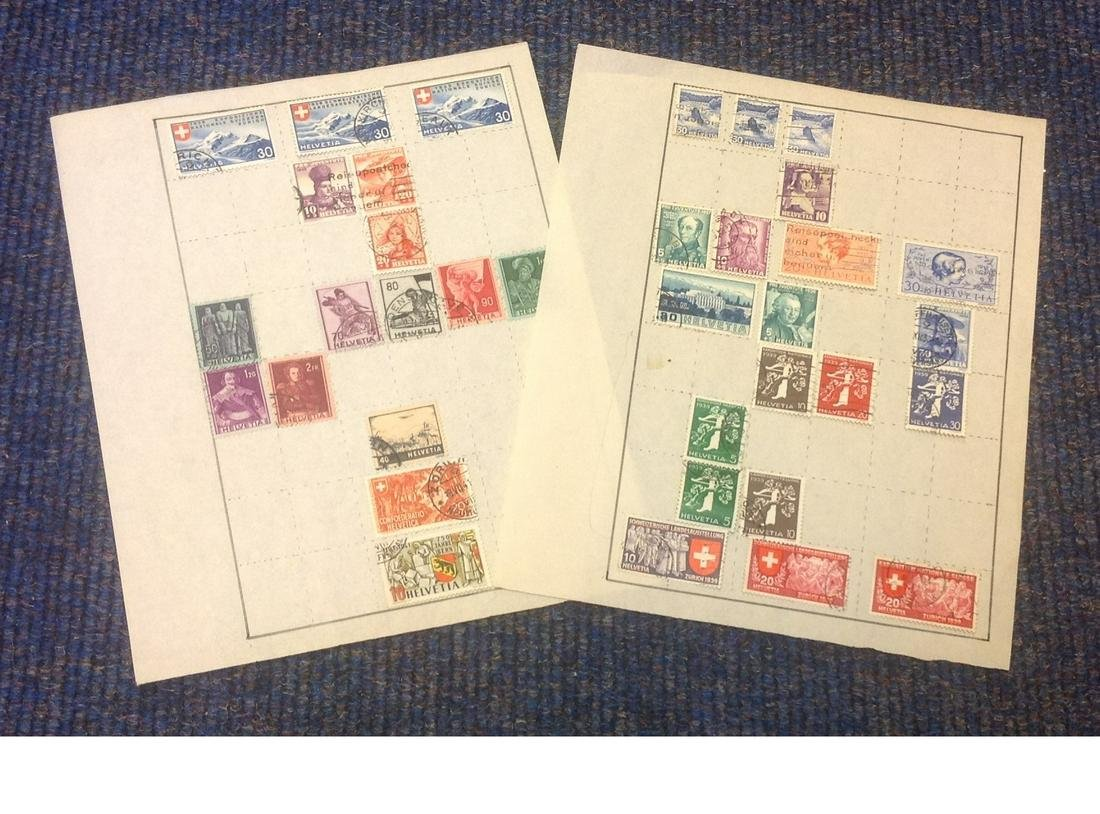 Switzerland stamp collection 2 sheets used dated