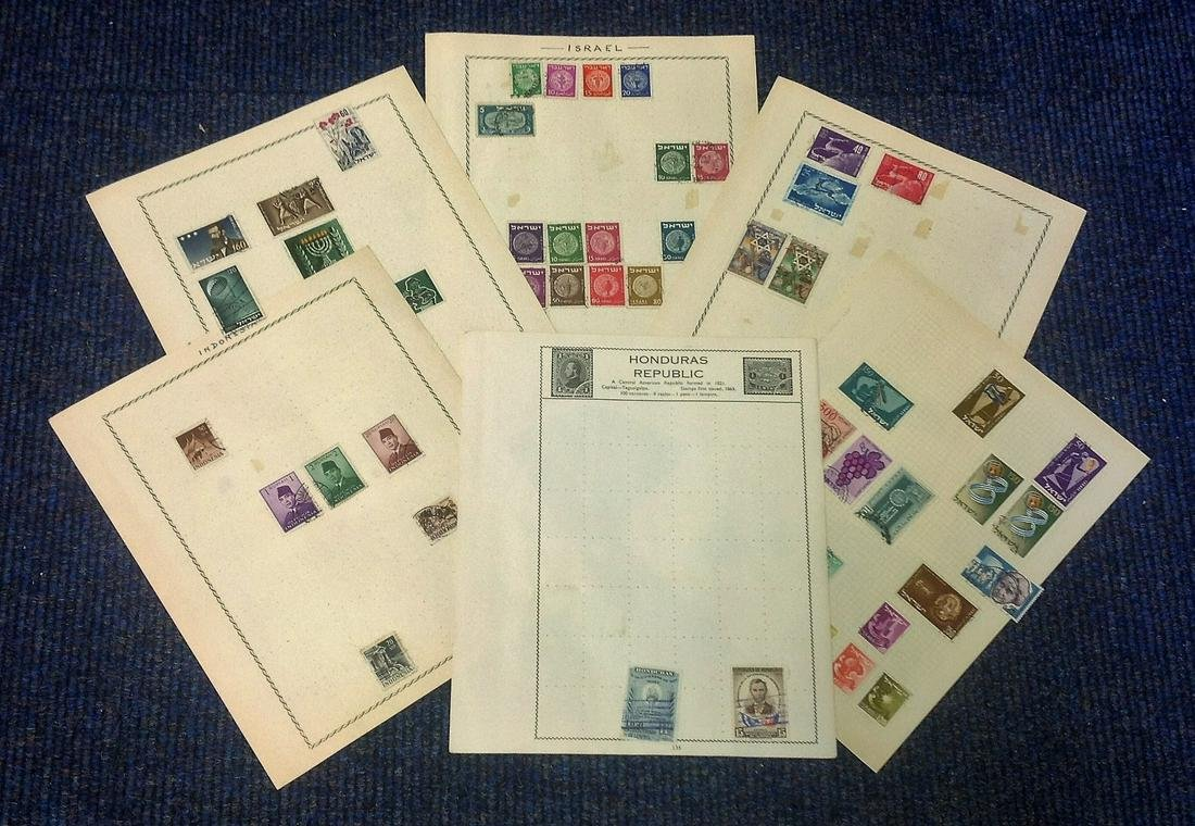 World stamp collection 6 loose sheets used countries