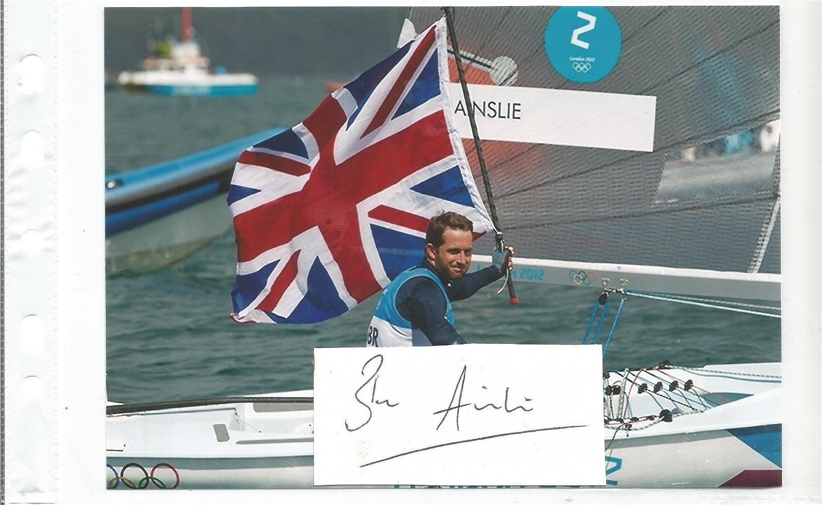 Ben Ainslie Signed Card With 5x7 Yachtsman Olympic