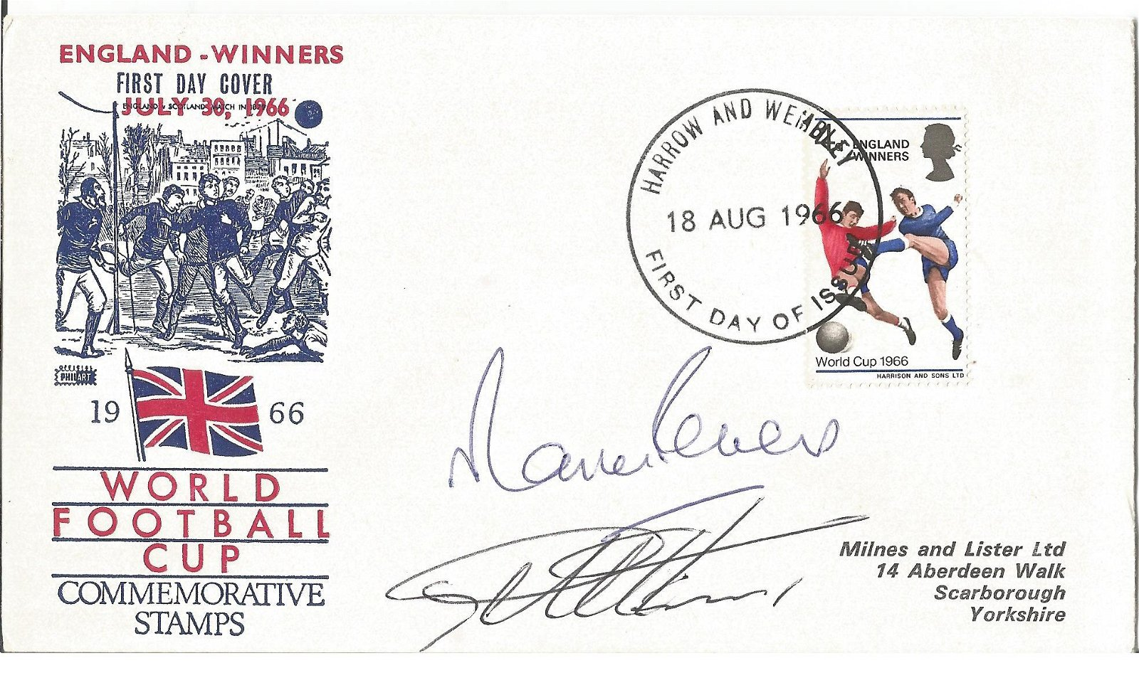 Martin Peters and Geoff Hurst signed FDC England