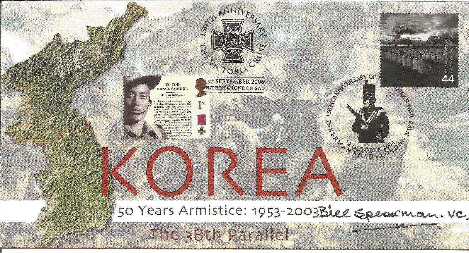Bill Speakman VC signed Korea 50 Years Armistice 1953 -