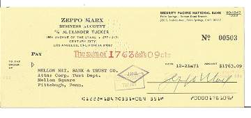 Zeppo Marx signed 1971 cheque drawn on Security Pacific