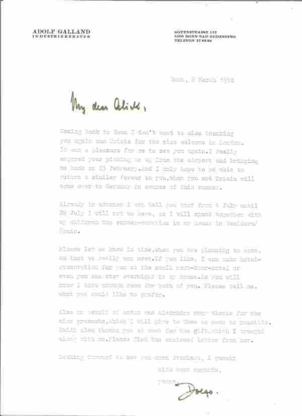 WW2 Luftwaffe ace General Adolf Galland signed typed