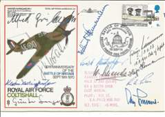 WW2 Luftwaffe aces multiple signed SC29 Hawker
