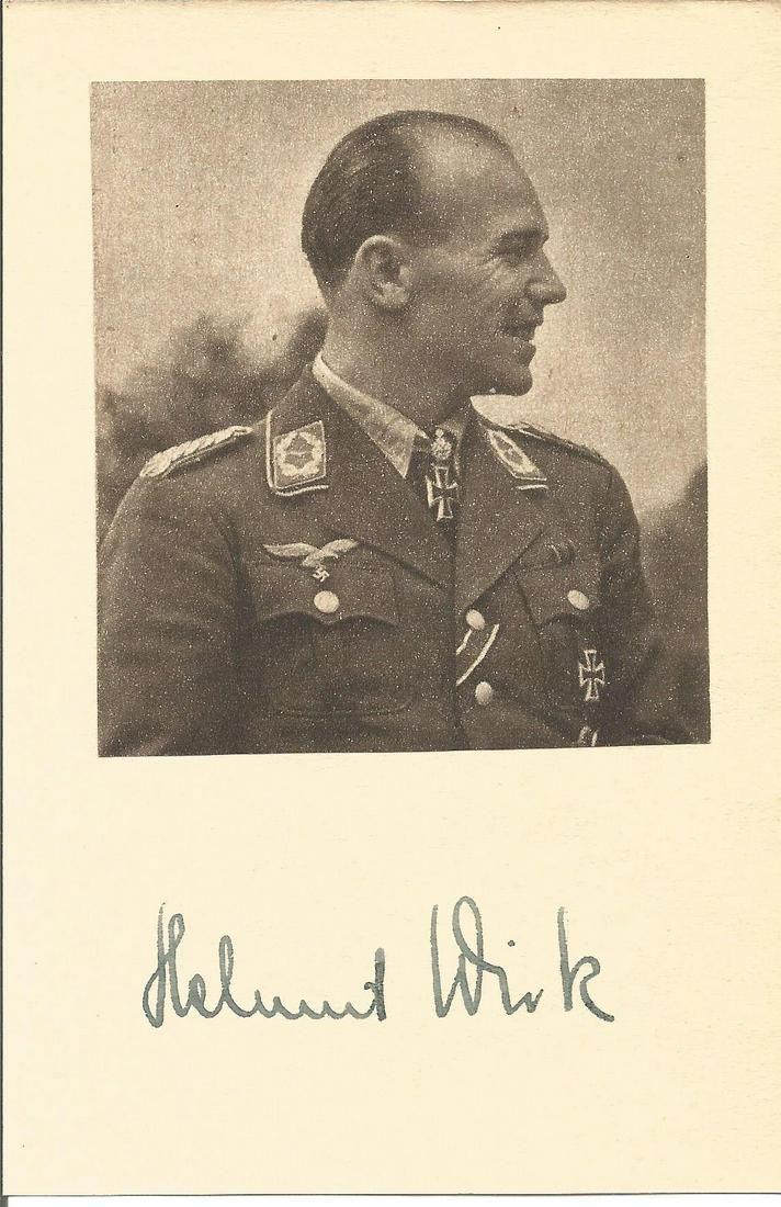Major Helmut Wick, KC, WW2 Luftwaffe JG2, 56 victories,