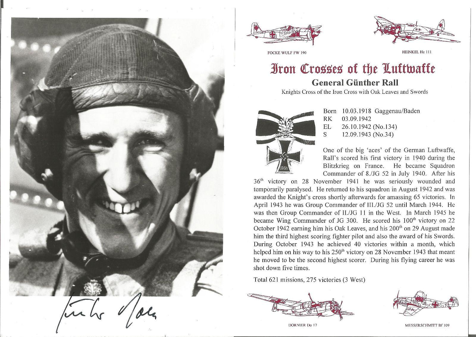 General Gunther Rall, KC, WW2 Luftwaffe, 621 combat
