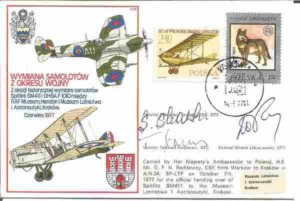 WW2 polish aces multiple signed cover. RAF C48 cover