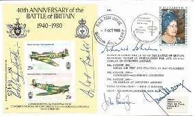 Five Top Battle of Britain fighter aces signed 40th