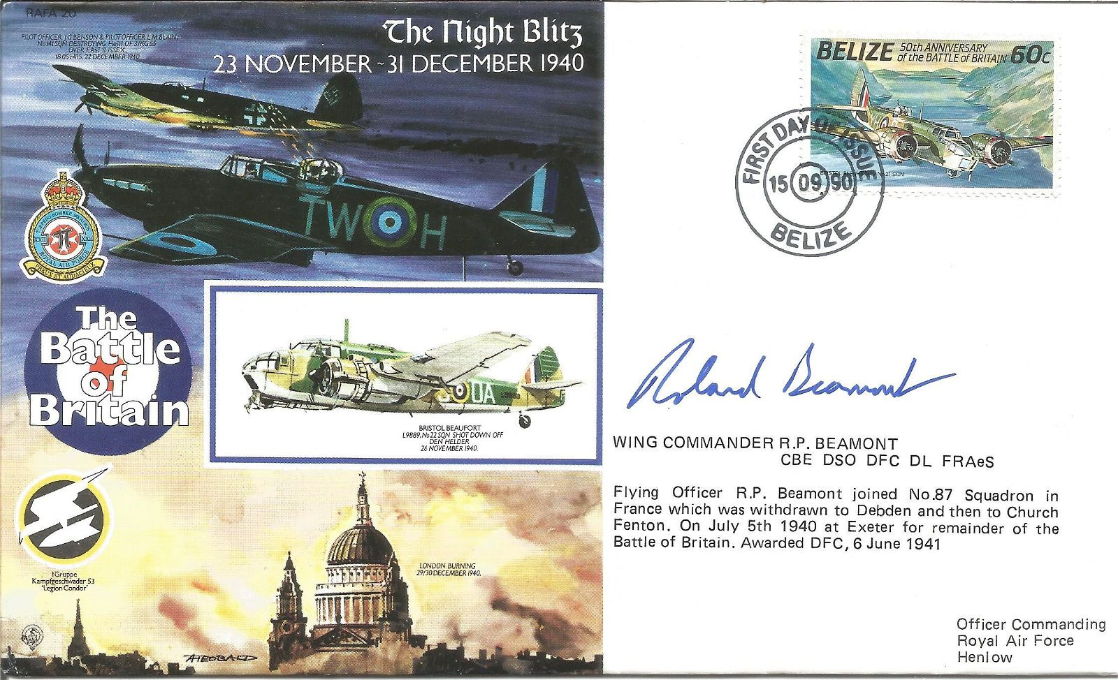 Wg Cdr Roland Beamont DSO DFC signed 50th ann Battle of