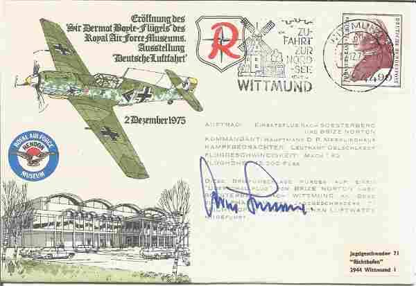 WW2 Luftwaffe ace Gen Adolf Galland signed 1975 RAR