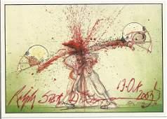 Ralph Steadman signed 6x4 colour postcard. Good