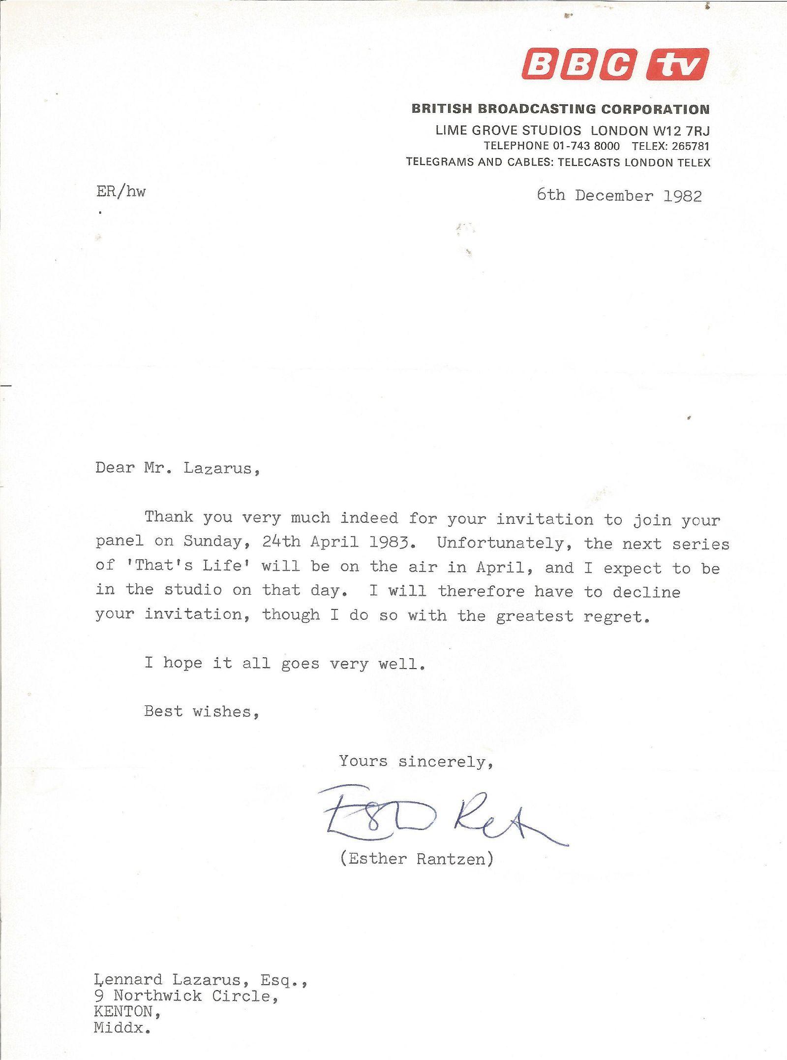 Esther Rantzen TLS dated 6/12/82. Good Condition. All