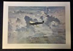 Battle of Britain print titled Lone Spitfire by the