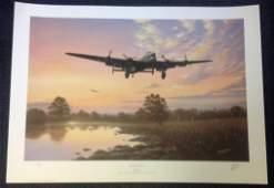 World War II print 20x27 titled Lancaster Dawn signed