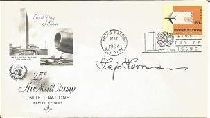 WW2 Luftwaffe ace Hajo Hermann signed 1964 US Air Mail