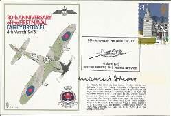 WW2 Luftwaffe ace Martin Drews signed Navy Firefly