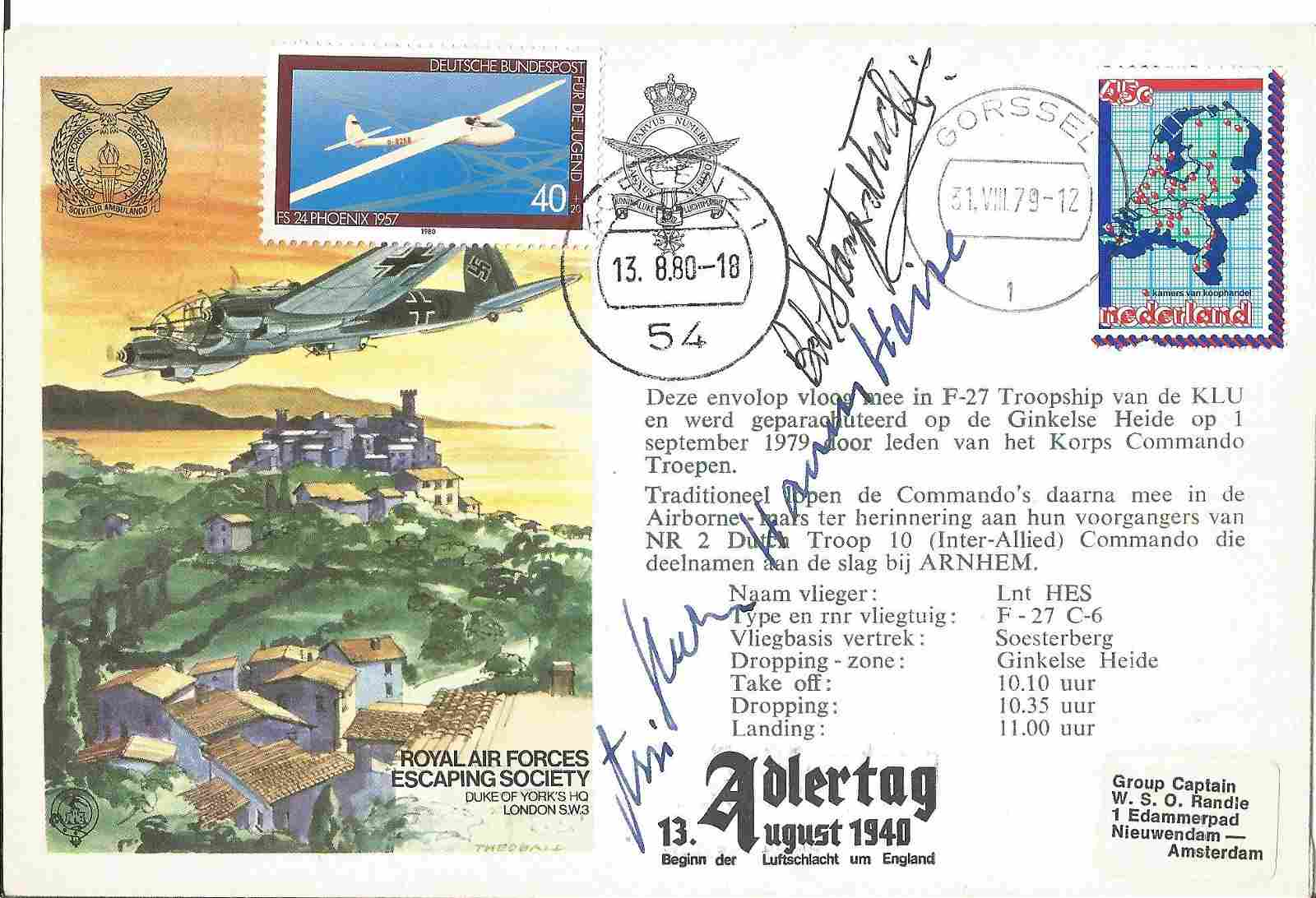 WW2 Battle of Britain aces signed rare Adlertag cover.