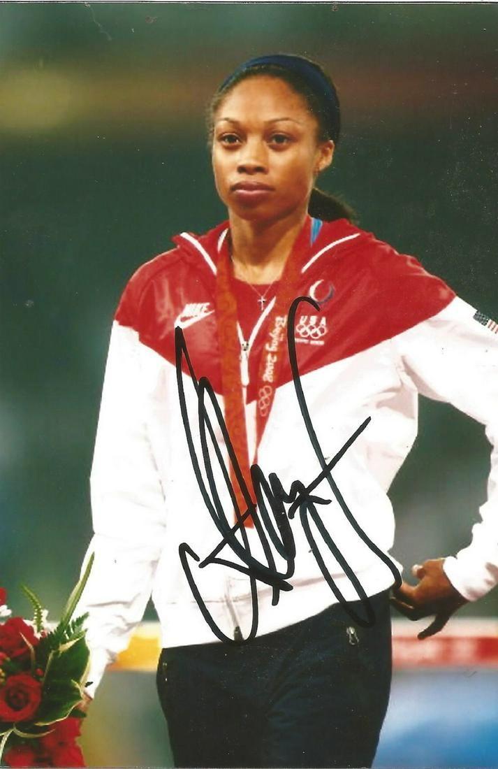 Olympics Allyson Felix signed 6x4 colour photo of the