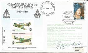 WW2 ace Douglas Bader DSO DFC signed 50th ann Battle of