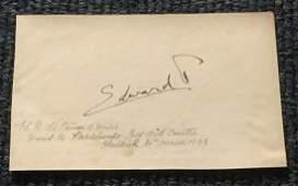 King Edward VIII signed white card signed in black ink