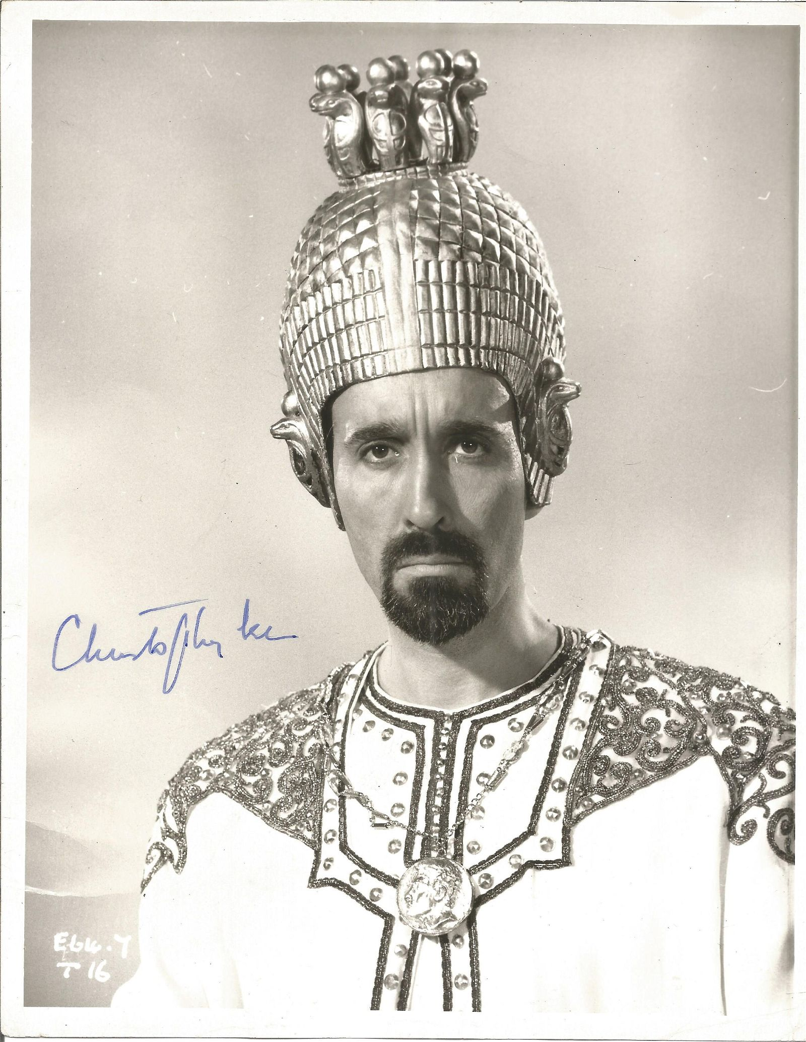Christopher Lee signed 10 x 8 inch b/w photo. Condition