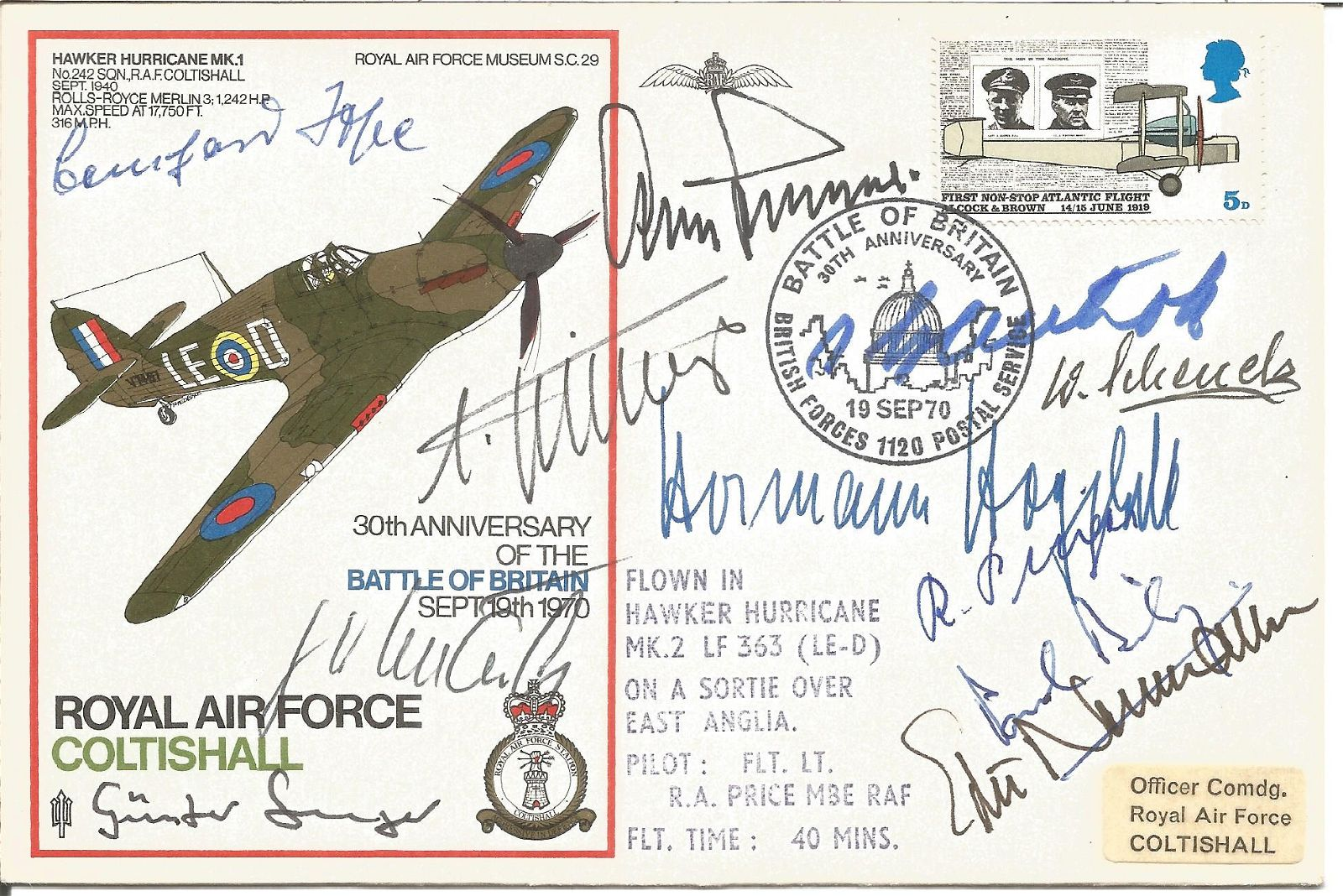 WW2 Luftwaffe aces multiple signed cover Paul Richey,